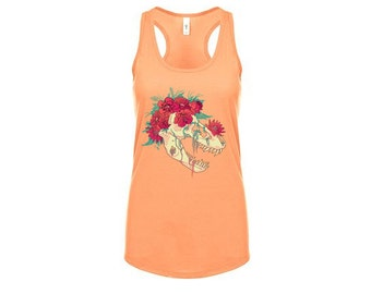 Orange Flower Crown T Rex Tank Top
