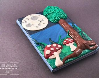 "OOAK Handmade 3D ""Midnight Moon"" Polymer Clay Journal, Journal Cover, Birthday Gift for Her"