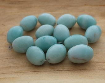 Large Amazonite Focal Bead - Amazonite Beads - Oval Amazonite Beads -