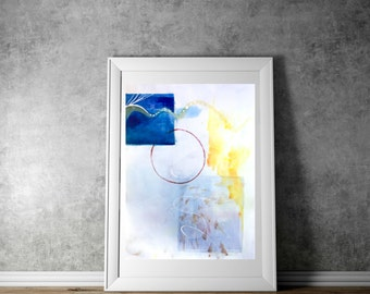 Large Minimalist Wall Art, Extra Large Blue Abstract Wall Decor, Watercolor Geometric Art, Original Artwork, 36x42, Large Vertical Painting