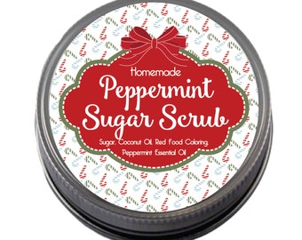Peppermint Scrub Merry Christmas labels for your homemade Christmas gifts
