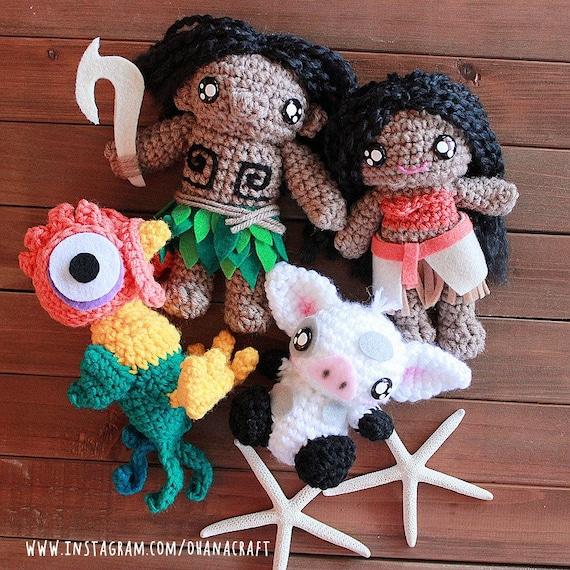 Moana inspired crochet doll-Moana Hei Hei and Pua Plushies