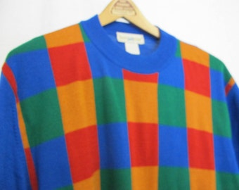 Rainbow Sweater 1990s  Italian Wool Sweater Geometric Sweater