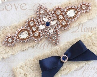 Best Seller - CHLOE II - Rose Gold Sapphire Blue Wedding Garter Set, Lace Garter, Rhinestone Crystal Bridal Garters, Something Blue