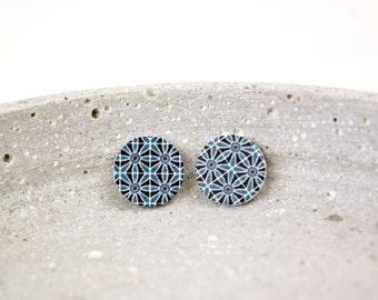 Retro pattern wood earrings G36