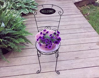 Large Purple Ceramic Flower Pot W/ Black Metal Plant Stand Terracotta  Planter W/ Welcome