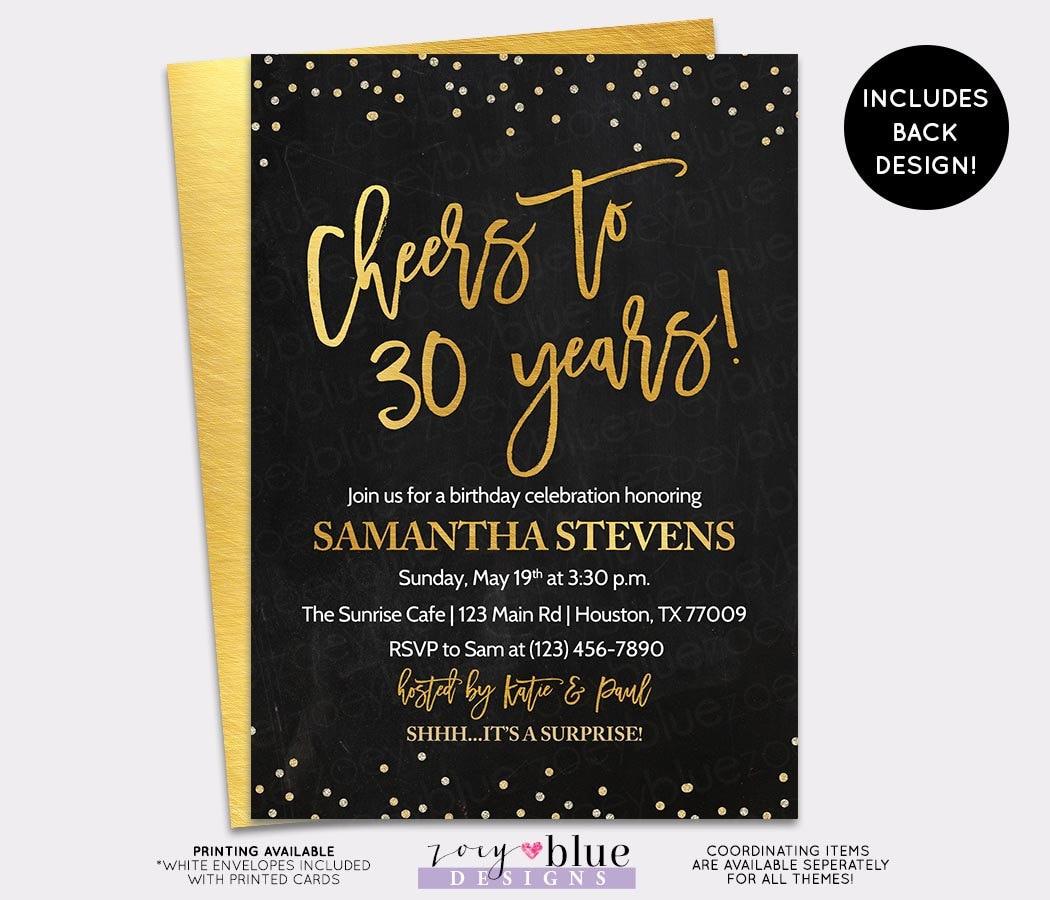 Adult Birthday Invitation Cheers To 30 Years Invite