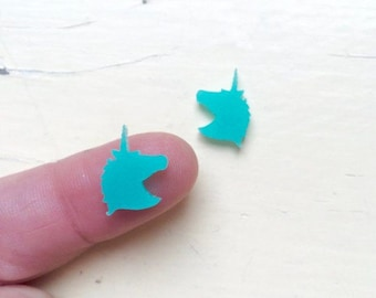 Pair Mini UNICORN CAMEOS, Laser Cut Cabochons, Laser Cut, DIY Supplies, Cool Cabochons
