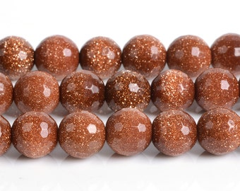 """8MM190 8mm Faceted goldstone  round loose gemstone beads 16"""""""