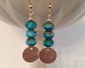 Turquoise Aqua Blue Earrings with Gold-Filled Round Components
