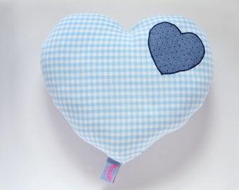 Blue and white heart cushion