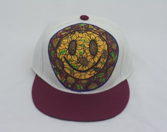 Sunflower Smiley Hat, Hand Painted Smiley Face Snapback Hat