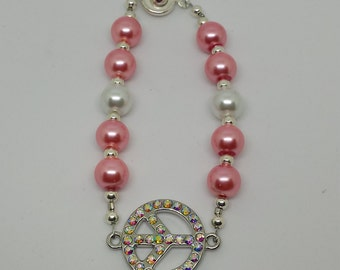 Pink and White Beaded Rhinestone Peace Sign Bracelet