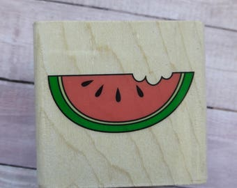 Watermelon Slice Wood Mounted Rubber Stamp Scrapbooking & Paper Craft Supplies