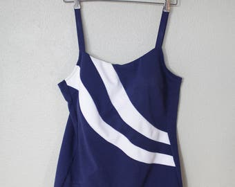 vintage navy blue and white stripe nautical one piece swimsuit womens