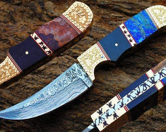 """4.1""""Damascus Blade Collector Hunting Knife w/Engraved Brass Bolsters,Buffalo Bone,File-Work,Onyx,Lapis Lazuli Stone,UDK-AF-25"""
