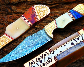 """5.0""""Damascus Blade Collector Hunting Knife w/Engraved Brass Bolsters,Buffalo Bone,File-Work,Onyx,Lapis Lazuli Stone,UDK-AF-13"""