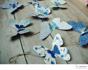 Butterflies-blue-double-sided wreath - Garland custom - made hand-decoration-home decoration - wedding