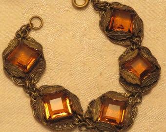 Vintage antique Edwardian Art Deco era ornate filigree leaf Czech amber open back crystal bracelet