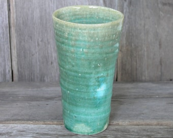 Japanese ceramics, Handmade Ceramic Tumbler, Chawan, Green Tumbler, Ceramic Cup, Slender cup, Tall Cup, Handmade Pottery, Made in Japan.