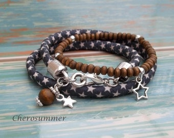 Bracelet set star wood dark brown