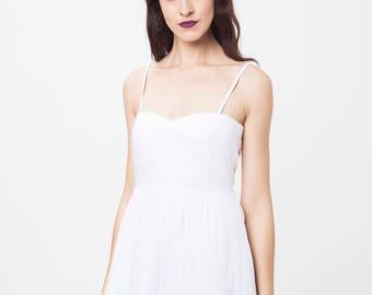 SPAGHETTI STRAP SUMMER Love heart dress, white summer dress, 50s summer dress