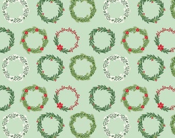 Comfort and Joy Wreaths Light Green - C6263 LT Green by Designs by Dani for Riley Blake Designs