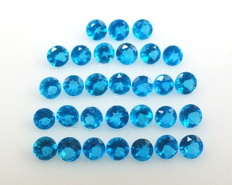 Neon Apatite 2.5mm Round Checkerboard Cut Top Excellent Neon Blue Color (4153)