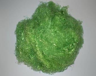 Banana Silk Fiber - Emerald green- vegan eco friendly loose textured spinning fiber felting papermaking doll hair crafts