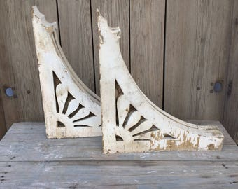 Vintage wood shelf brackets, porch brackets