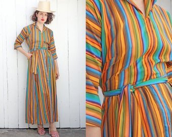 SALE Vintage 70s Dress | 70s Long Vertical Multicolor Stripe Maxi Dress Long Sleeve Belted | Small S