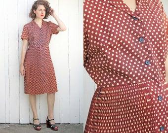 Vintage Shirt Dress | Polka Dot Short Sleeve Shirt Dress Accordion Pleats Brown White | Medium M