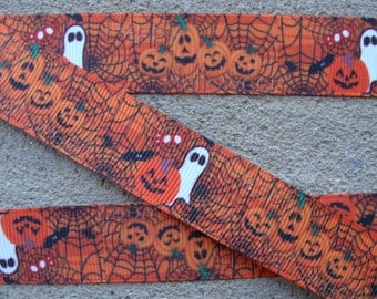 "Halloween Printed Ribbon 7/8"" Spider Web grosgrain ribbon Ghost Ribbon Pumpkin Ribbon Holiday Hair Bow Ribbon Craft Supplies"