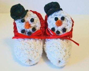Adorable Hand Crocheted Baby Bootie Shoes Snowman Christmas Great Photo Prop Matching Hat & Bib Also Available