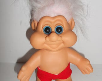 """Vintage ITB 1991 Red Trunks Shorts Troll Doll 6.5"""""""