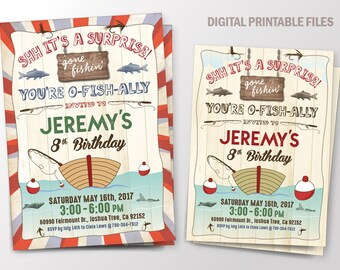 Boy Birthday Fishing Invitation, Birthday Party with Fishing, Fish Birthday, Fishing Boat, DIY