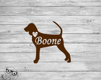 Black and Tan Coonhound Decal, Coonhound Car Decal, Personalized dog Decal, Coonhound Decal, Coonhound, Sticker -You choose size and color.