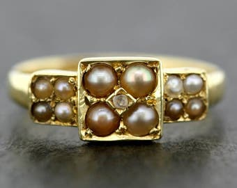 Antique Pearl Ring - Victorian 18ct Gold Pearl Ring - Vintage Seed Pearl Dress Ring
