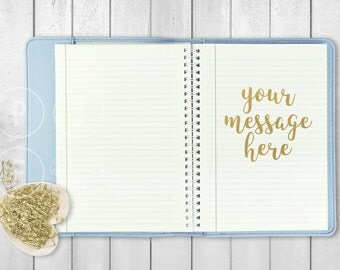 notebook mockup, blue notebook image, blog background, styled desktop photo, styled stock photo, desk mock up, girly, desk scene, top view