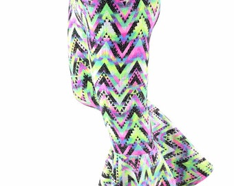 Kids Chevron Candy Sparkly Zigzag Spandex Bell Bottom Flared Pants Sizes 2T 3T 4T and 5-12 - 154111