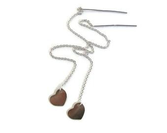 Long silver threader Threader earring  Dainty chain Silver heart earring Boho spring earring Silver heart Earrings for wife Simple threader