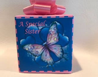 Butterfly Music box wrapped as a gift