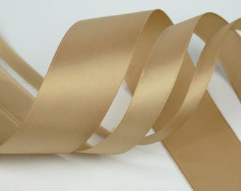 """100 yards, Single faced Satin Ribbon, Champagne, Lt. Brown,  7 widths, 1/4"""", 3/8'', 1/2'', 5/8'', 3/4"""", 1"""", 2''"""