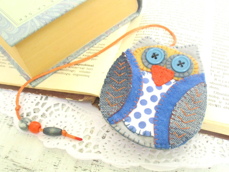 Felt owl bookmark polka dot owl denim fabric gifts for for Polka dot felt fabric
