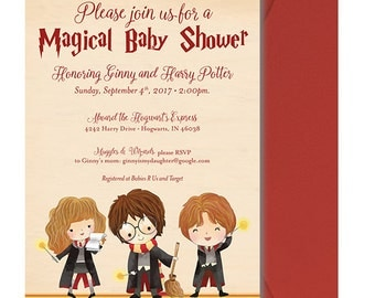 Harry Potter Baby Shower Invitation - Harry Potter Shower Invitation - Harry Potter Baby Shower Invite - Cute Kids  - Personalized - Digital