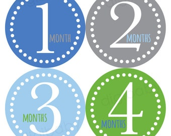 Baby Month Stickers Boy, Blue, Green Gray Baby Stickers, Monthly Milestone, Baby Monthly Sticker, Baby Shower Gift