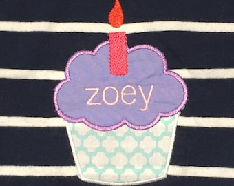 Cute little cupcake with candle machine appliqué and embroidery designs in 11 sizes and styles