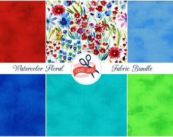 WATERCOLOR FLOWER Fabric Bundle Fabric by the Yard, Fat Quarter Watercolour Marble Floral Fabric 100% Cotton Quilting Fabric Apparel Fabric