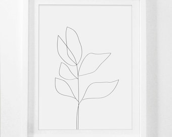 Botanical Drawing, Simple Drawing, Simple Flower Print, Botanical Framed Art, Minimalist Drawing, Plant Drawing, Framed Simple Art