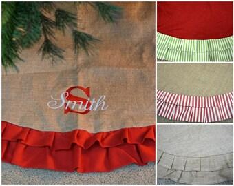 Personalized Burlap Tree Skirt Ruffle